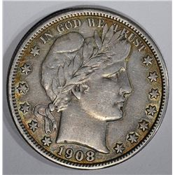 1908 BARBER HALF DOLLAR, CHOICE XF