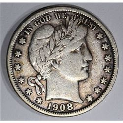 1908-D BARBER HALF DOLLAR, VF