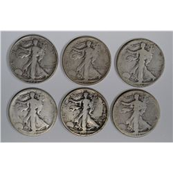 6 WALKING LIBERTY HALVES