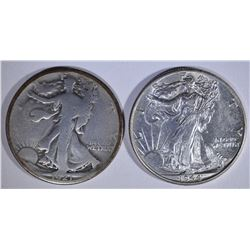 WALKING LIBERTY HALVES: 1921-S VG & 44 CH BU