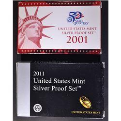 2001 & 2011 U.S. SILVER PROOF SETS ORIG PACKAGING