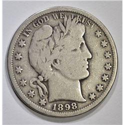 1898-S BARBER HALF DOLLAR, FINE