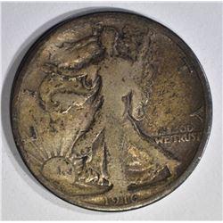1916 WALKING LIBERTY HALF DOLLAR, GOOD