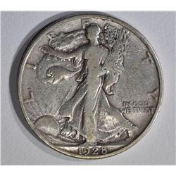 1928-S WALKING LIBERTY HALF DOLLAR, VF+