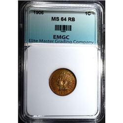 1906 INDIAN CENT, EMGC CH/GEM BU RB