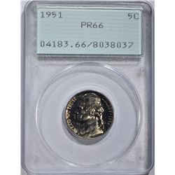 1951 JEFFERSON NICKEL, PCGS PR-66 OLD GREEN HOLDER