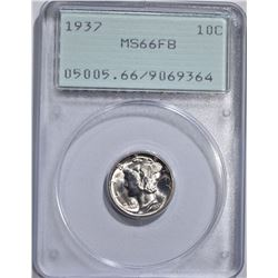 1937 MERCURY DIME, PCGS MS-66 FB OGH