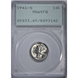 1941-S MERCURY DIME, PCGS MS-65 FB OGH