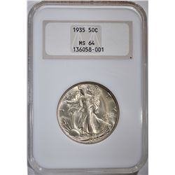 1935 WALKING LIBERTY HALF DOLLAR, NGC MS-64