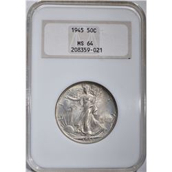 1945 WALKING LIBERTY HALF DOLLAR, NGC MS-64