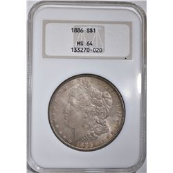 1886 MORGAN DOLLAR, NGC MS-64