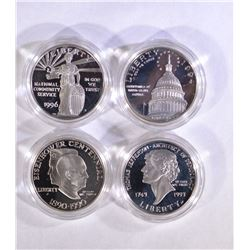 4 - COMMEMORATIVE SILVER DOLLARS: