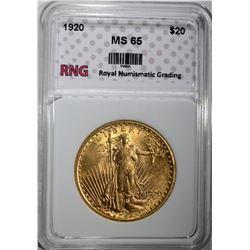 1920 $20 ST GAUDENS GOLD RNG GEM BU