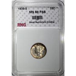 1939-S MERCURY DIME RNG SUPERB GEM+ FSB