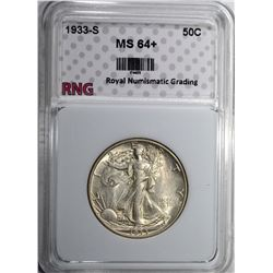 1933-S WALKING LIBERTY HALF DOLLAR RNG CH BU+