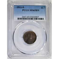 1911-S LINCOLN CENT PCGS MS65BN