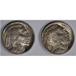 1914 & 15 BUFFALO NICKELS, CH BU+