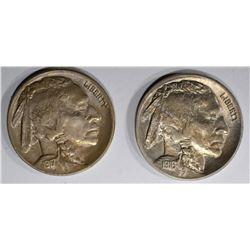1916 & 1917 BUFFALO NICKELS, CH BU