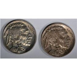 1919 & 1920 BUFFALO NICKELS, CH BU