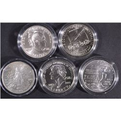 5 UNC SILVER DOLLARS IN CAPS ONLY