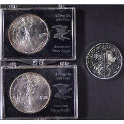 2-1988 SILVER EAGLES & 1 2015 PHILHARMONIC BU COIN