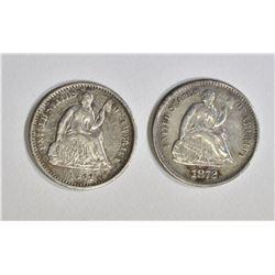 1862 & 1872-S SEATED HALF DIMES, XF