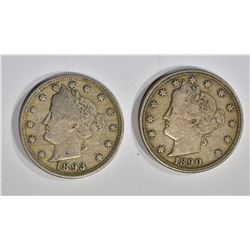 1890 & 1893 VF+ LIBERTY NICKELS