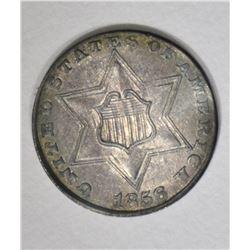1856 3-CENT SILVER, AU