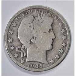 1905-O BARBER HALF DOLLAR, VG+