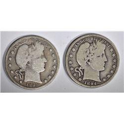 1894-S VG & 1895-O GOOD BARBER HALF DOLLARS