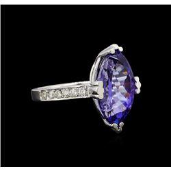 14KT White Gold 5.20 ctw Tanzanite and Diamond Ring