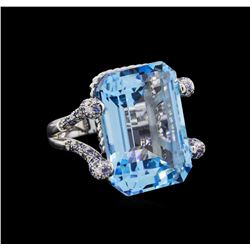 45.20 ctw Topaz, Sapphire and Diamond Ring - 18KT White Gold