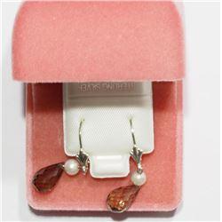 Sterling Silver Smokey Quartz Drop Style Earrings - Retail $80