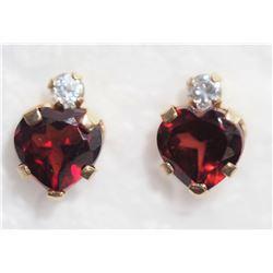 10KTGold Garnet  CZ Heart Shaped Earrings - Retail $200