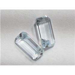 2 Genuine Aquamarine Emerald Cut Gemstones - Retail $60