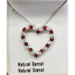 Sterling Silver Natural Garnet Heart Shaped Pendant Necklace - Retail $250