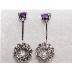 Sterling Silver Antique Design Amethyst 2-in-1 Earrings - Retail $250
