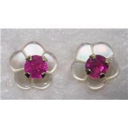 10KTGold Ruby w/ Mother of Pearl Flower Jacket Earrings - Retail $160