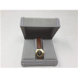 Men's AzurQuartz Brown Leather Strap Wrist Watch