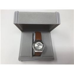 Men's Azur Quartz S.S Leather Brown Strap Wrist Watch