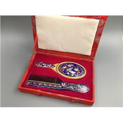 Middle 20th Cnetury Cloisonne Small Miror and Comb.