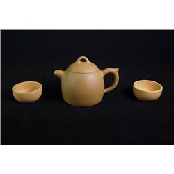 """""""Duan"""" Clay Qinquan Yixing Teapot with Two """"Duan"""" Clay Cups"""