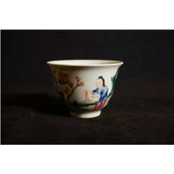 "Late Qing Dynasty, a small""Figures"" cup."