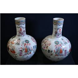 "A pair of famille-rose ""firgues"" large vases (Tian Qiuping)."