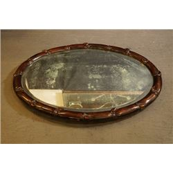 "Early 20th Century Old Rosewood Carved ""Bamboo Pattern"" Oval Mirror."