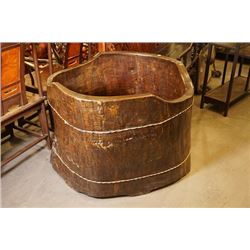 Large Chinese Style Wood Carved Bathtub.