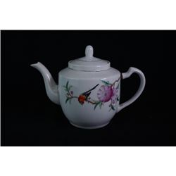 "Middle 20th centry, famille-rose ""Flora and Birds"" tea pot."
