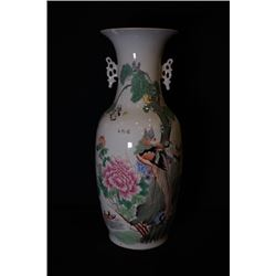 "A Large Famille-Rose ""Flora and Birds"" Two-Ear Vase(Jiazhuangping)."