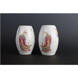 """""""Da Qing Xian Feng Nian Zhi"""" Mark Famille-Rose Vase(Gan Lan Ping)."""