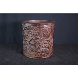 "A big wood carving brush pot with "" Xian Ju Tu"" pattern."